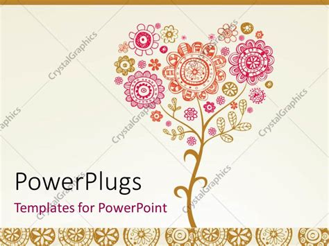 powerpoint template greeting card with floral design for