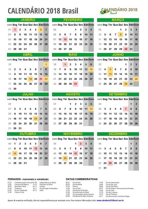 Calendario Anual 2018 Calend 193 2018 Para Imprimir Feriados