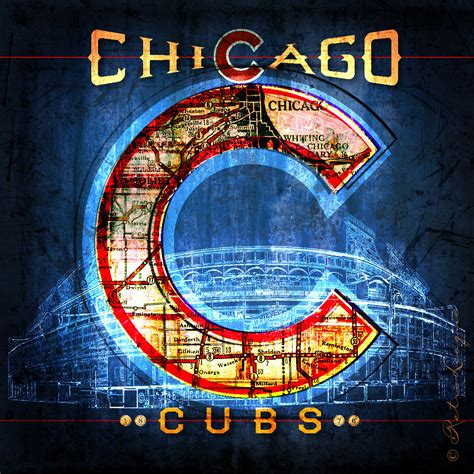 chicago cubs fan map chicago cubs vintage map neon wrigley field by