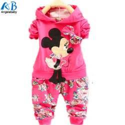 Kids 2016 spring children velvet clothing set minnie mouse baby girls