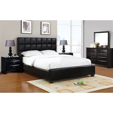 poundex  piece faux leather queen size bedroom set