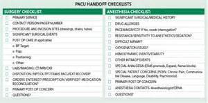 an alternative succinct checklist offered for pacu handoff