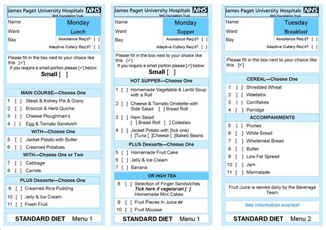 hospital menu template hospital food