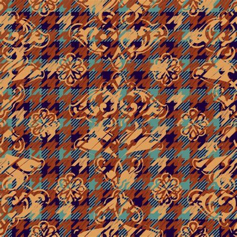 houndstooth pattern ai houndstooth and flowers pattern vector free download