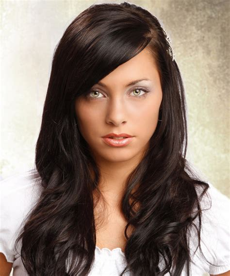 front view of side swept hairstyles long straight formal hairstyle dark brunette mocha