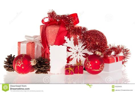 christmas gifts decorations and empty card stock photos