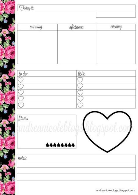 printable daily planner inserts andrea nicole free daily planner insert planner
