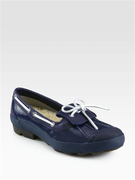 duck shoes for ugg ashdale rubber leather duck shoes in navy lyst
