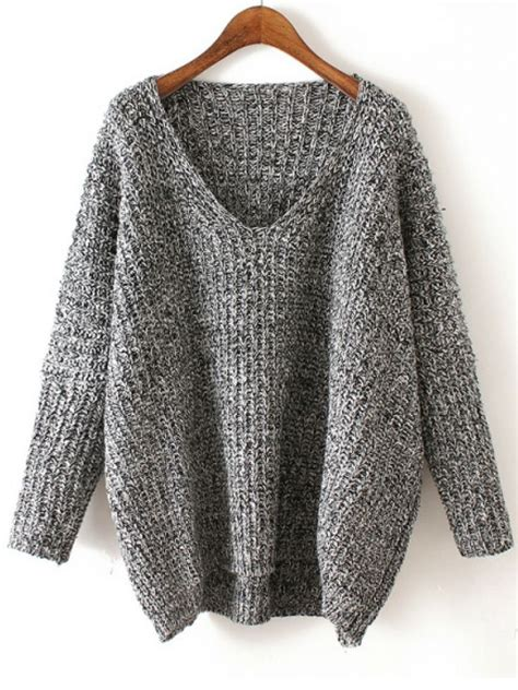 knit sweter v neck chunky knit grey dolman sweater grey the end and