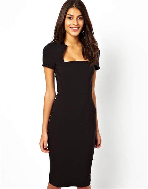 Usquare Dress asos asos pencil dress with square neck at asos
