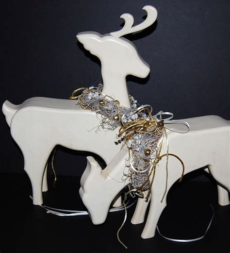 1980s large wood christmas reindeer statues set of 2