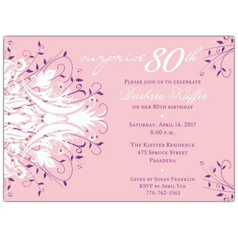 free 80th birthday invitation templates andromeda pink 80th birthday invitations paperstyle
