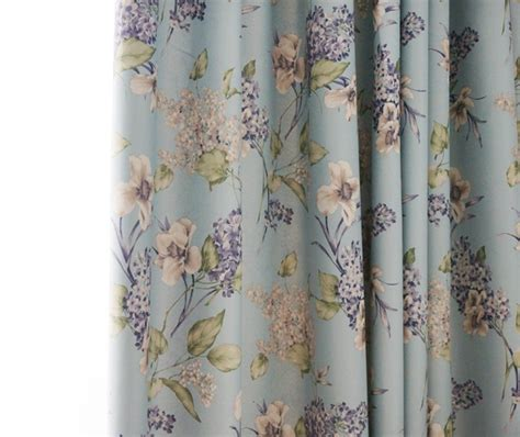 vintage baby blue floral shabby chic curtains