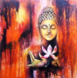 Buddha Lotus Painting Gautam Buddha Painting For Living Room Search