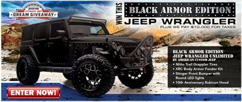 Jeep Wrangler Sweepstakes 2017 - 2017 jeep wrangler unlimited black armor edition plus 10 000 for taxes