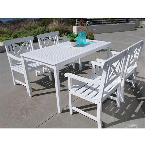 white patio dining set vifah bradley acacia white 5 patio dining set with