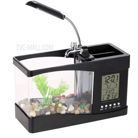 Usb Desktop Aquarium mini usb desktop aquarium fish tank with clock lcd display