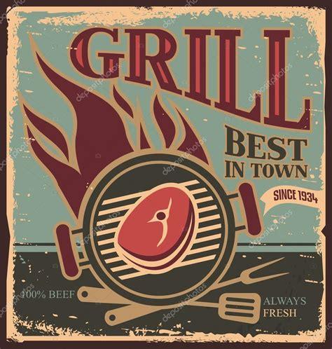 retro poster template mod 232 le affiche r 233 tro bbq avec steak de bœuf frais image