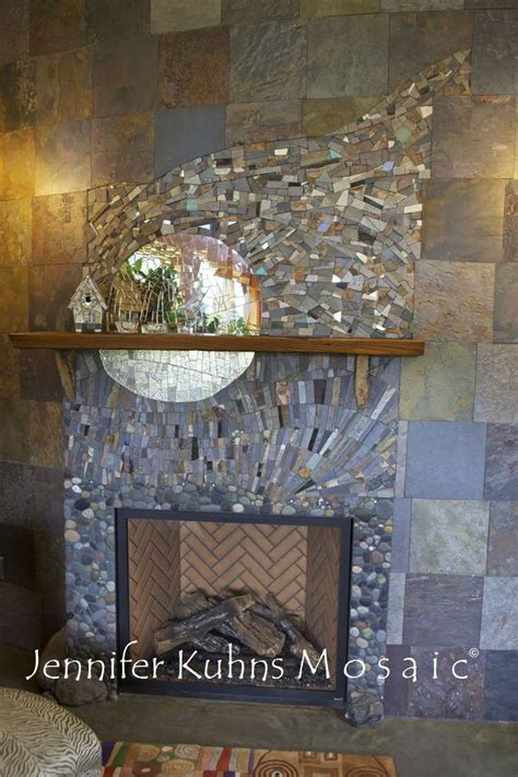 fireplaces pebble  stone tile images