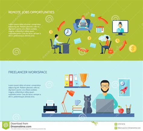 Home Office Designer Online freelance flat banner set stock vector image of
