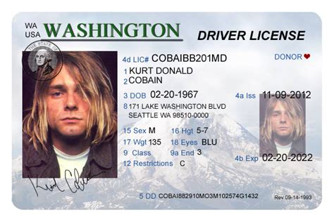 washington driver s license editable psd template download