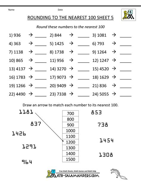 Worksheet Rounding by Rounding Numbers Worksheets To The Nearest 100