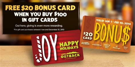 Where To Buy Outback Gift Cards - outback steakhouse holiday bonus gift card offer 2013 mission to save