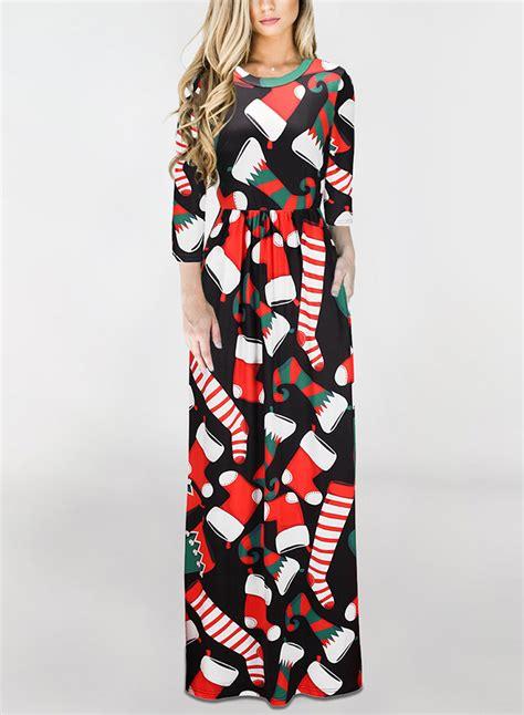christmas pattern long sleeve dress christmas pattern long sleeve maxi dress novashe com