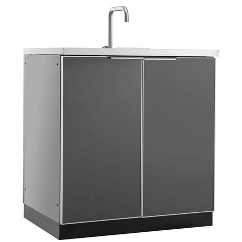 kitchen sink and cabinet newage products aluminum slate 32 in 3 drawer 32x33 5x23