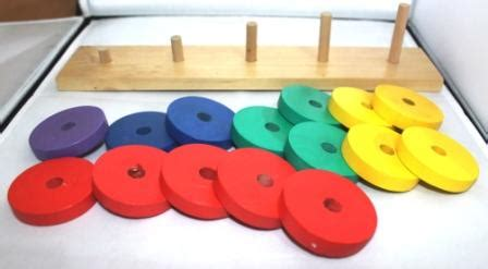 Tradisional Mainan Anak Susun Menyusun Puzzle Busa lingkaran susun mainan kayu