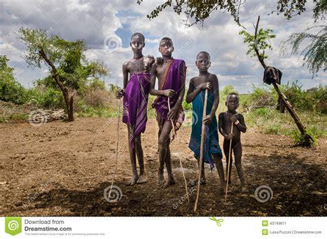 Ethiopia Omo Valley Group Of Boys From Mursi Tribe Editorial Photo Image Of Wild Ethiopia