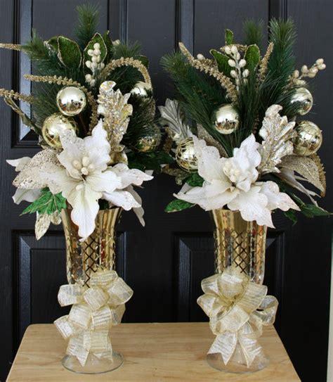 white gold poinsettia christmas centerpiece home christmas