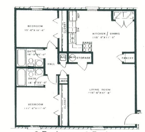Two Bedroom Two Bath Floor Plans | two bedroom two bath floor plans bedroom at real estate