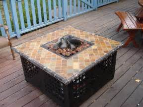 patio table with propane pit fireplace design ideas