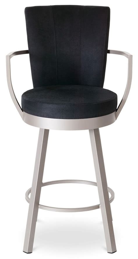 high back bar stools with arms cardin swivel stool w wrap arms and high upholstered back