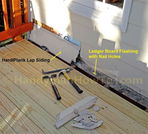 remove outdoor l post remove siding to replace deck ledger board
