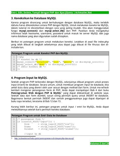 Cd Tutorial Cara Koneksi Php Ke Mysql entri edit delete til crud dengan php dan ajax jquery