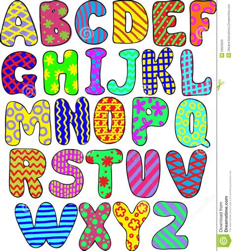 printable colourful alphabet letters a z colorful alphabet stock vector illustration of game