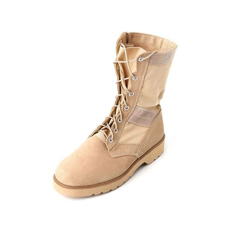 beige combat boots mens two tone suede fabric eyelet lace up ankle combat