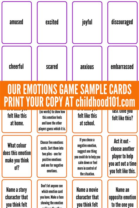 free printable emotions board game free printable manage big emotions our emotions card game printable