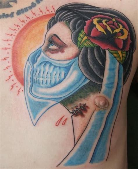 zombie tattoo meaning gypsy head zombie tattoo with blue scarf tattoomagz