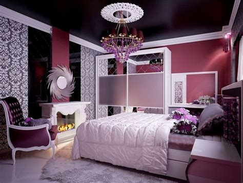 purple vintage bedroom purple vintage bedroom with damascus floral wallpaper