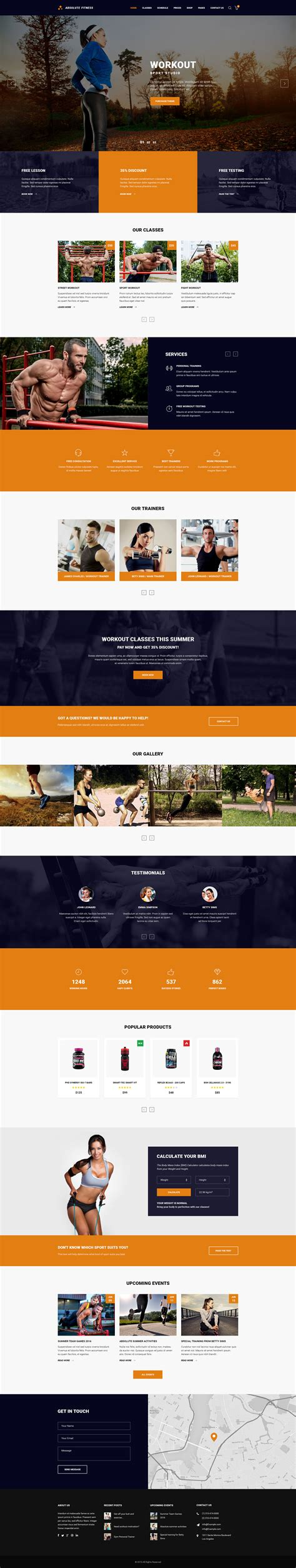 Absolute Fitness Psd Template By Noxonthemes Themeforest High School Sports Website Templates