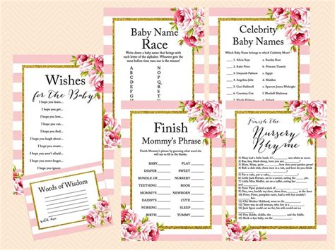 download printable bridal shower games pink floral chic baby shower game pack magical printable