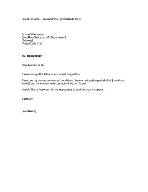 Template For A Letter Of Resignation resignation letters pdf doc