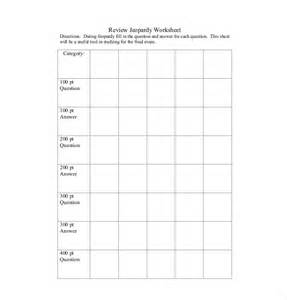 Jeopardy Printable Template by 7 Blank Jeopardy Templates Free Sle Exle Format