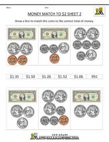 math money worksheets money match to 2 dollars 2 images