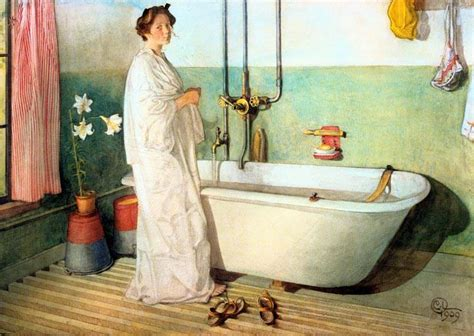 painting an old bathtub lisbeth prepares a bath watercolour by carl larsson 1853