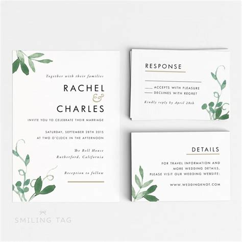 Wedding Invitation Letter Pdf Printable Wedding Invitation Set Modern Botanical Wedding Invites Ready To Print Pdf Rsvp