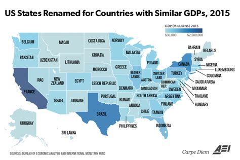 usa stae map economic output if states were countries california